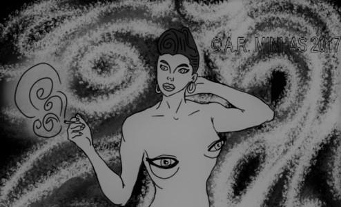 Astral Lady head (bw)